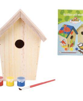 Esschert Design DIY gør-det-selv-fuglehus med maling 14,8 x 11,7 x 20 cm KG145
