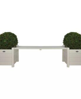 Esschert Design plantekasser CF33W med bænk imellem, hvide