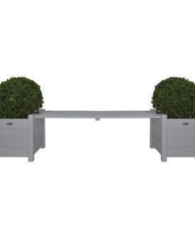 Esschert Design plantekasser CF33G med bænk imellem, grå