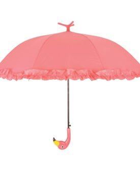 Esschert Design paraply med flæser Flamingo 98 cm lyserød TP203