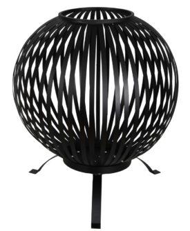 Esschert Design bålkurv rund stribet kulstofstål sort FF400