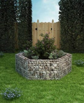vidaXL sekskantet gabion-plantekasse 160 x 140 x 50 cm