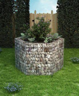 vidaXL sekskantet gabion-plantekasse 160 x 134 x 100 cm