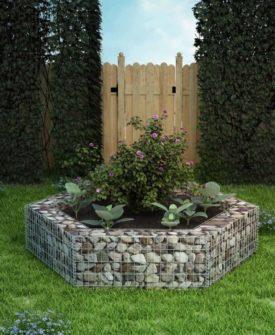 vidaXL sekskantet gabion-plantekasse 200 x 173 x 40 cm