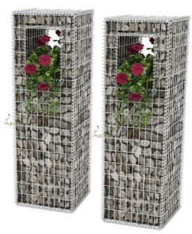vidaXL gabionkurv/plantekasse 2 stk. stål 50 x 50 x 160 cm