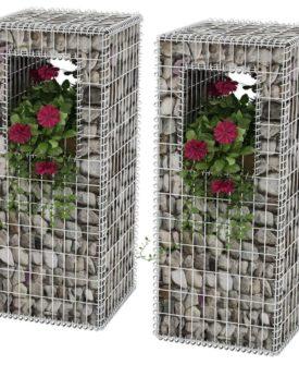 vidaXL gabionkurv/plantekasser 2 stk. stål 50 x 50 x 120 cm