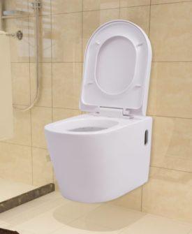 vidaXL væghængt toilet keramisk hvid