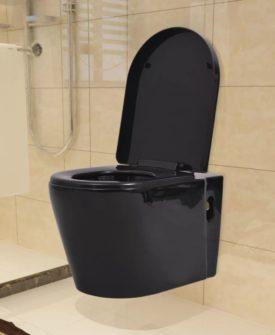 vidaXL væghængt toilet keramisk sort