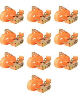vidaXL surringsbånd 10 stk. 0,4 ton 6 m x 25 mm orange
