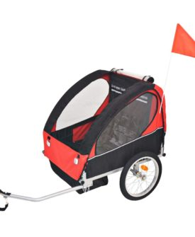 vidaXL cykelanhænger til børn rød og sort 30 kg
