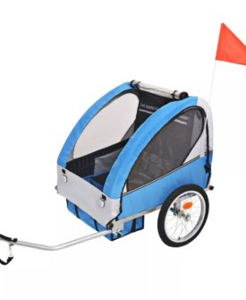 vidaXL cykelanhænger til børn grå og blå 30 kg