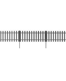 vidaXL stakit med stolper 3 stk. WPC 600 x 60 cm