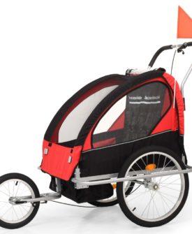 vidaXL 2-i-1 cykelanhænger- og klapvogn til børn sort og rød