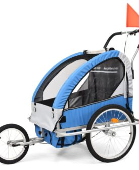 vidaXL 2-i-1 cykelanhænger og klapvogn til børn blå og grå