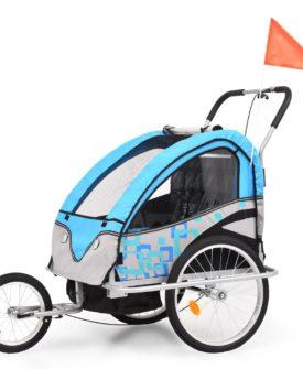 vidaXL 2-i-1 cykelanhænger- og klapvogn til børn blå og grå