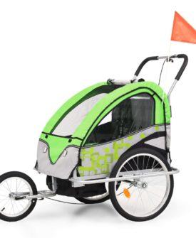 vidaXL 2-i-1 cykelanhænger- og klapvogn til børn grøn og grå