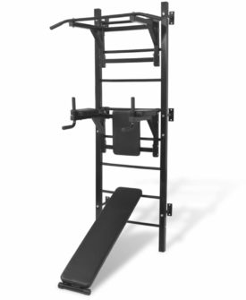 vidaXL vægmonteret multifunktionel fitness-styrketårn sort