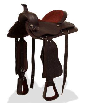 vidaXL westernsadel hovedtøj og brystkrave ægte læder 15″ brun
