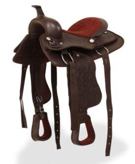 vidaXL westernsadel hovedtøj og brystkrave ægte læder 12″ brun