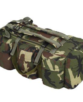 vidaXL 3-i-1 duffeltaske i militærstil 120 l camouflage