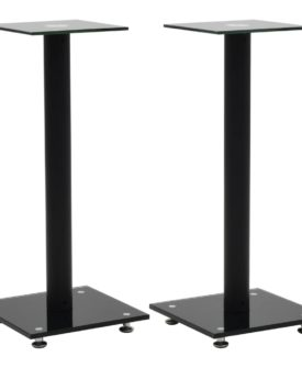 vidaXL højtalerstativer 2 stk. hærdet glas 1 søjledesign sort