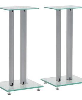 vidaXL højtalerstativer 2 stk. hærdet glas 2 søjledesigns sølvfarvet