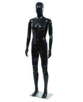 vidaXL mandemannequin fuld figur glassokkel sort højglans 185 cm
