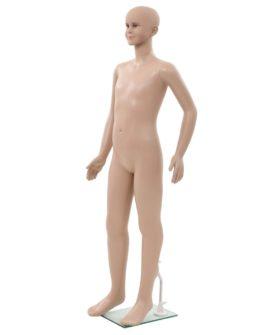 vidaXL mannequin barne fuld figur med glassokkel beige 140 cm