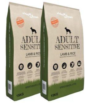 vidaXL luksustørfoder til hunde Adult Sensitive Lamb & Rice 2 stk. 30 kg