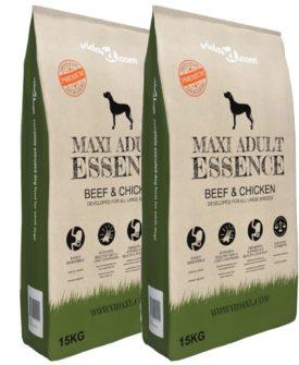 vidaXL luksustørfoder til hunde Maxi Adult Essence Beef & Chicken 2 stk. 30 kg