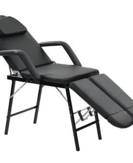 vidaXL mobil ansigtsbehandlingsstol kunstlæder 185 x 78 x 76 cm sort