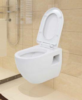 vidaXL væghængt toilet keramik hvid