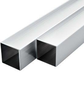 vidaXL aluminiumsrør 6 stk. firkantet bokssektion 1 m 40 x 40 x 2 mm