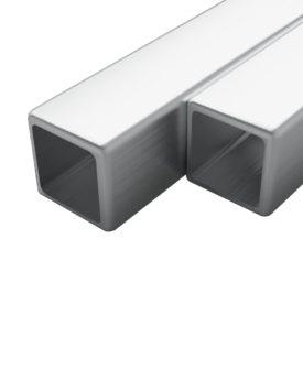 vidaXL rustfrie stålrør 2 stk. firkantet bokssektion V2A 2 m 15 x 15 x 1,5 mm