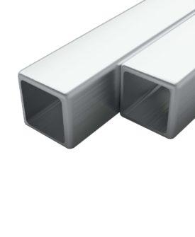 vidaXL rustfrie stålrør 2 stk. firkantet bokssektion V2A 1 m 25 x 25 x 1,9 mm