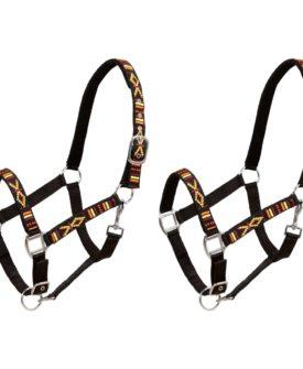 vidaXL hovedtøj til heste 2 stk. nylon str. pony sort