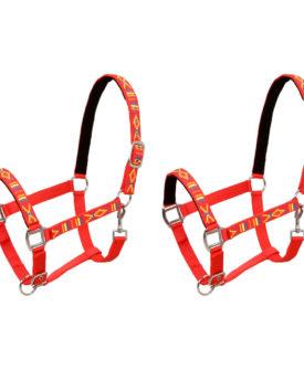 vidaXL hovedtøj til heste 2 stk. nylon fuldstørrelse rød