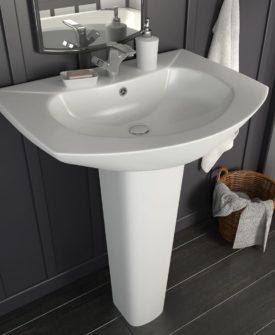 vidaXL fritstående vask med piedestal keramik hvid 650 x 520 x 200 mm