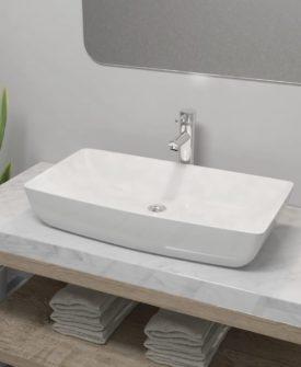 vidaXL badeværelseshåndvask med blandingsbatteri keramik rektangulær hvid