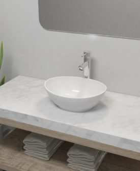vidaXL badeværelseshåndvask med blandingsbatteri keramik oval hvid