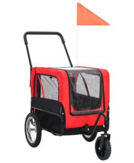 vidaXL 2-i-1 cykelanhænger og joggingklapvogn til kæledyr rød og sort
