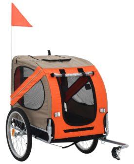 vidaXL cykelanhænger til hund orange og brun
