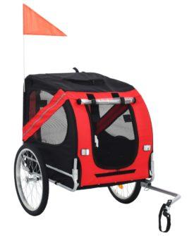 vidaXL cykelanhænger til hund rød og sort