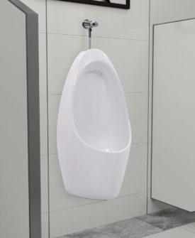vidaXL væghængt urinal med skyllesystem keramisk