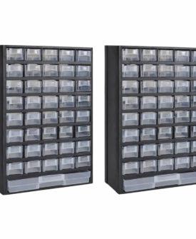 vidaXL opbevaringsskab 41 skuffer værktøjskasse 2 stk. plastik
