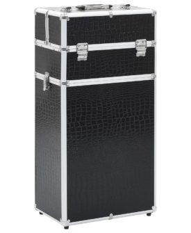 vidaXL makeupkuffert med krokodillemønster aluminium sort