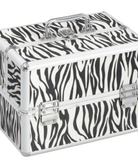 vidaXL makeupkuffert 22 x 30 x 21 cm zebrastriber aluminium