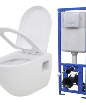 vidaXL væghængt toilet med skjult cisterne keramik hvid