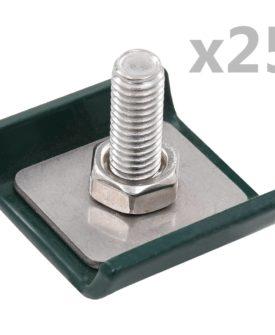 vidaXL forbindelsesklemme til trådhegn 25 sæt grøn