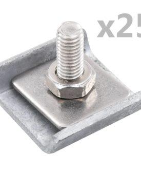 vidaXL forbindelsesklemme til trådhegn 25 sæt sølvfarvet